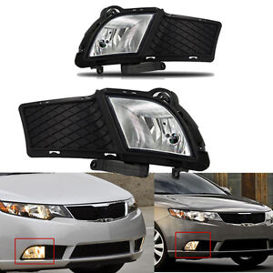 For 2010 2013 Kia Forte Clear Front Bumper Fog Lights Lamps bulbs wiring switch