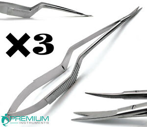 3 Pcs New Micro Scissors 7 5 Yasargil Sharp sharp Curved Surgical Instruments