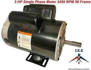 3 Hp 3450 Rpm Electric Motor Compressor Duty 56 Frame 1 Phase 5 8 Shaft 230 V