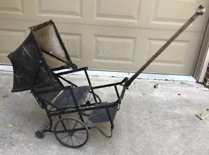 Antique 1800 S Baby Child Buggy Carriage Stroller Doll Pull Steam Punk Vtg