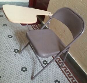 Vintage Steel Metal Folding Chair Attached Arm Desk Home School 7 Available
