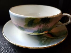 Porcelain Coffee Tea Cup And Saucer Hand Painted Japan