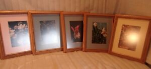 Group Of 5 Vntage Oak Frames With Photos 9 1 2 X 11 3 4 Molding 1