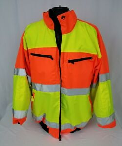 2w Safety Jacket Ansi Class 3 Reversible Water Proof Worn Once Fleece 3xl Hi Vis