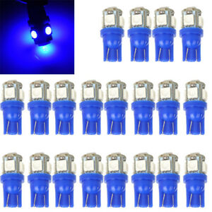 20 Pack T10 Wedge 5 Smd Blue 5050 Led Light Bulbs Lamp W5w 2825 158 192 168 194