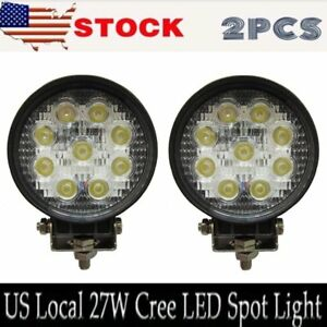 2 X 27w 4in Spot Round Led Work Light Offroad Fog Driving Drl Suv Atv Truck Lamp
