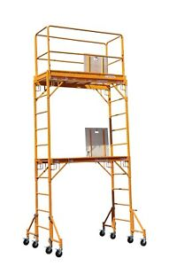12 Height Deck Scaffold Rolling Tower With Hatch Decks Guard Rail Cbmscaffold