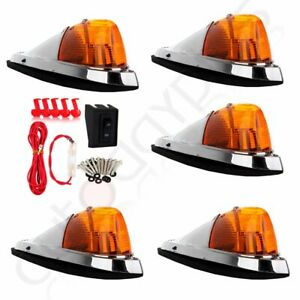 5 Teardrop Amber Cab Roof Top Marker Clearance Light Wiring Pack For Dodge Ram