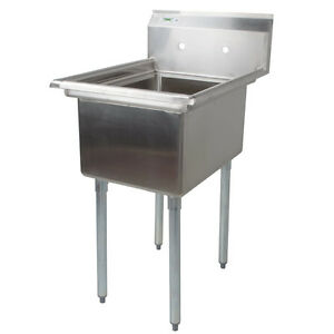 22 Large Bowl Stainless Steel One Compartment Commercial Restaurant Prep Sink
