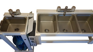 Portable 1 2 Pan Size Large 3 Compartment Table Top Sink Hand Wash