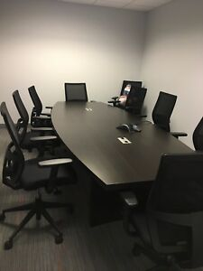 Boat Shaped Conference Table Brown With Black Chairs Lightly Used Greatcondition