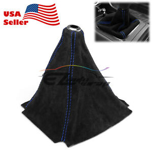 Genuine Leather Alcantara Suede Shift Knob Boot Cover Black With Blue Stitches