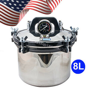 8l Portable Steam Autoclave Sterilizer Dental Equipment Stainless Steel 110 220v