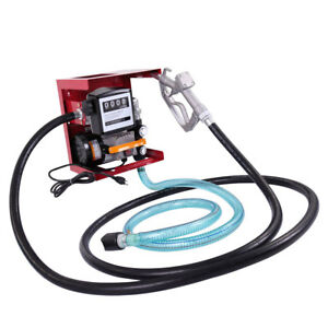 New Electric Diesel Oil Transfer Pump 110v Fuel Manual Nozzle Hose W Meter