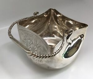 Antique Whiting Aesthetic Style Sterling Silver Sugar Bowl Basket Or Candy Dish