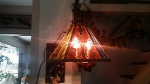 Gorgeous Vintage Italy Italian Tole Stained Glass Panel Chandelier