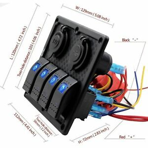 4 Gang Switch Panel Boat Rocker Blue For Car Rv Vehicles W Usb Socket Charger