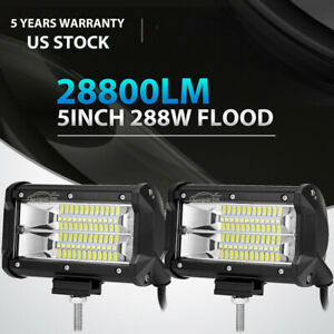 2x 5inch 288w Cree Led Work Light Bar Flood Beam Offroad 4wd Jeep Truck Atv 6 7