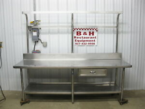 8 Stainless Steel Heavy Duty Work Table W Drawer Pot Rack 96 X 30