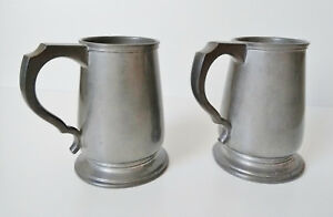 Pair Of Vintage Pewter Pints Atkin Brothers Sheffield 2024 Stein Mugs Rare