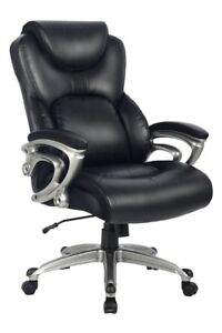 Office Chair With Bonded Leather High Back Thick Padded Headrest Armrest And