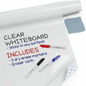 Large Dry Erase Board Wall Sticker clear 6 5 Feet 3 Whiteboard Markers