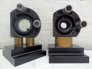 Lot Of 2 Dual Micrometer Optical Mounts On Stands horizontal Diagonal Stands