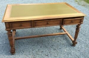 Antique French Louis Philippe Walnut Leathertop Desk Writing Table 1800s