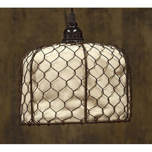 Primitive Farmhouse Country Chicken Wire With Canvas Pendant Light Lamp