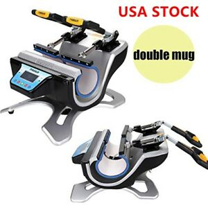 110v Auto Double Station Mug Heat Press Machine Diy 2 Mugs Sublimation Printing