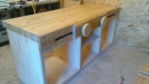 Custom Pro Woodworkers Workbench With Sliding Moxon Vise Oak Details Poly Finish