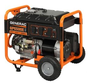 Generac Gp Series 6500e Portable Backup Power Generator Gp6500e Electric Start