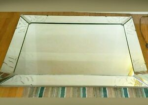 Vintage Art Deco Hollywood Regency Venetian Frosted Etch 46 X34 Wall Mirror