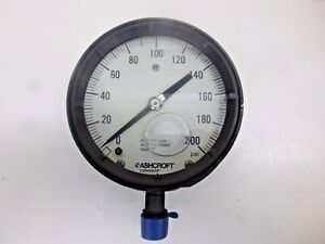 New Ashcroft Pressure Gauge 0 To 200 Psi 4 1 2 Diameter 451379asl04l200
