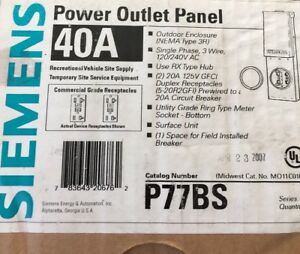 New Siemens Temporary Power Outlet Panel P77bs Nema 3r Outdoor