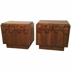 Mid Century Brutalist Mosaic Walnut End Table Nightstands By Lane Altavista