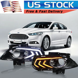 Pair Drl For Ford Fusion Mondeo 13 15 Led Daytime Running Light Fog Lamp W Turn