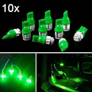 10pcs Green Led Car Interior Lights Bulbs T10 5 Smd 168 194 Trunk Dome Dash Lamp