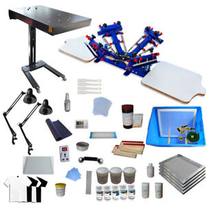 4 Color Screen Printing Equipment Kit Flash Dryer exposure Unit ink Squeegee