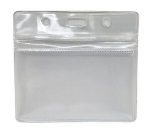 Waterproof Grip Seal Id Badge Pocket Pouches For Lanyards Reels Chains Lot
