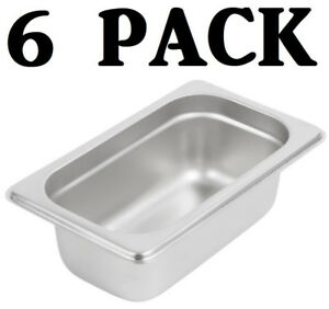 6 Pack 1 9 Size Stainless Steel 2 1 2 Deep Steam Prep Table Food Pan Buffet