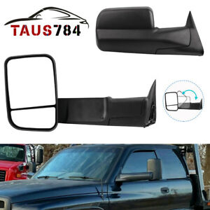 Manual Left Right Side Tow Mirrors For 1994 2001 Dodge Ram 1500 2500 3500 Pair