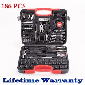 186pcs Tool Set Case Auto Home Repair Kit Sae Metric Lifetime Warranty Fedex