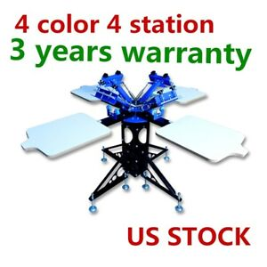 Free Ship 4 Color 4 Station Silk Screen Printing Machine T shirt Press Printer