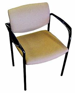 Chair Stacking Upholstered Seat With Arms Gold With Black Frame Steelcase Brand