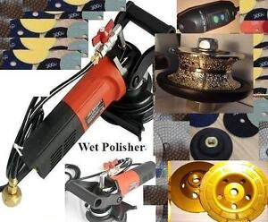 Wet Polisher 3 4 1 1 4 Full Bullnose Router 2 Cup 20 Pad Granite Concrete Saw