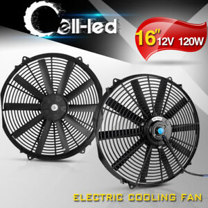 2x 16inch Electric Radiator Cooling Fan Reversible Kit 3000cfm Straight Blades