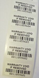 500 Destructible Wvir Barcode Tamper Proof Security Sticker Label Seals