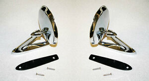 New 1963 1965 Fairlane Galaxie Falcon Fairlane Chrome Metal Outside Mirrors