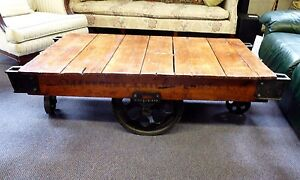 Antique Lineberry Foundry Machine Co 4 Wheel Cart Oak Wood Iron Castings 1916